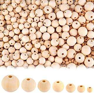 Set de Cuentas de Madera Redondas Naturales Ulikey 700 Piezas Abalorios de Madera B Artesanales Redondas Cuentas 4 tama/ños 10 mm, 12 mm, 16 mm, 20 mm Perlas de Madera Natural Redondas